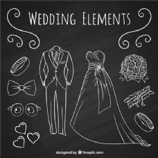手绘饰品与婚纱礼服和新娘
