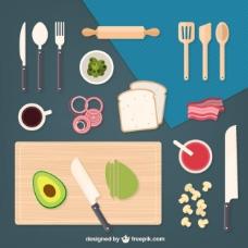 厨房元素和配料