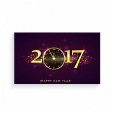 金元素的背景虚化的新年贺卡