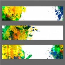 三个彩色抽象横幅