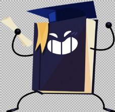 卡通风格毕业元素免抠png透明图层素材