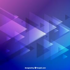 背景是紫色和蓝色的三角形。