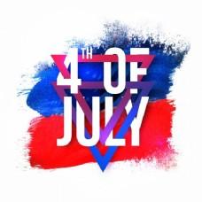 七月的白色文字第四,蓝色和红色的三角形背景为美国独立日庆祝活动。
