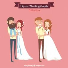 婚礼的夫妇,时髦的风格
