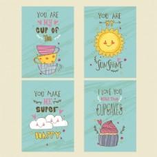 四张可爱的手绘风格卡片