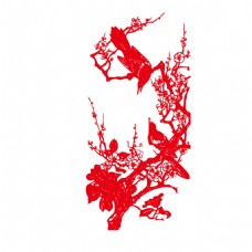 手绘水墨花鸟元素