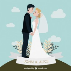 手绘结婚夫妇