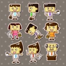 方头卡通人物儿童卡通贴纸标签矢量