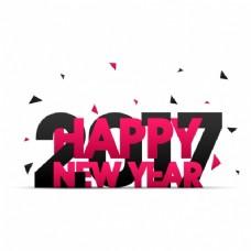 黑色和粉红色新年背景与三角形