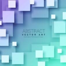 蓝色背景下的3D抽象正方形背景