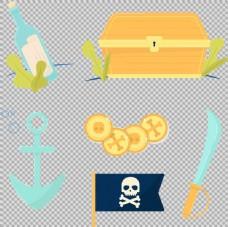 扁平风格海盗元素免抠png透明图层素材