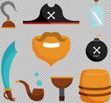 扁平风格海盗元素图免抠png透明图层素材
