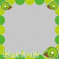 抽象绿叶猕猴桃边框免抠png透明图层素材
