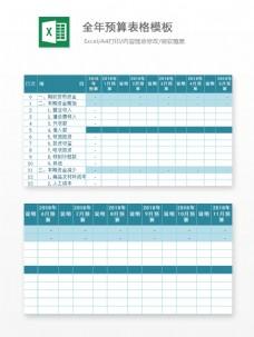 全年预算表格模板Excel文档