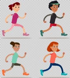 卡通跑步者免抠png透明图层素材
