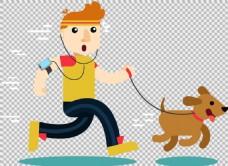 手绘遛狗跑步者免抠png透明图层素材