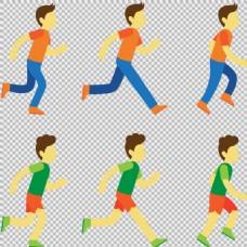 卡通跑步者插画免抠png透明图层素材