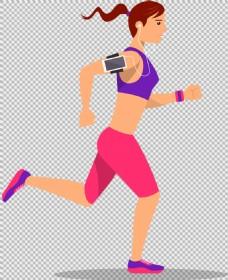 手绘卡通跑步女人免抠png透明图层素材