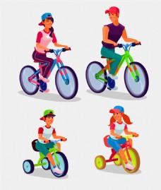 骑车的卡通男女图片