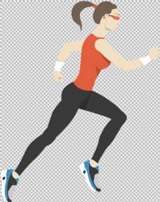 手绘美女跑步者免抠png透明图层素材