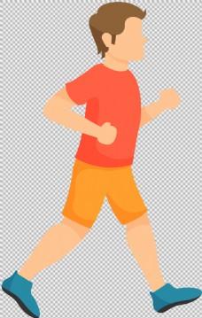 手绘扁平跑步者免抠png透明图层素材