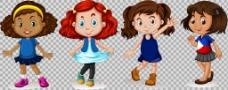 不同发型的可爱女孩免抠png透明图层素材