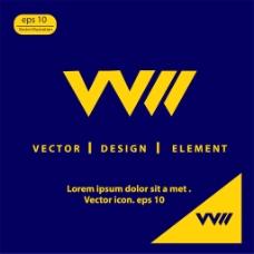创意字母V标志图片