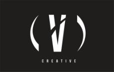 白色字母V标志图片