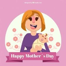 母亲节带婴儿的微笑女人的背景