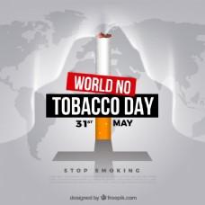 世界无烟日背景与世界地图上的香烟