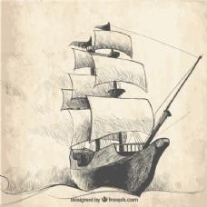 帆船背景复古素描
