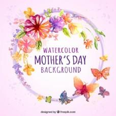 水彩背景与母亲节的花和蝴蝶