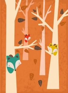 可爱狐狸与树背景图