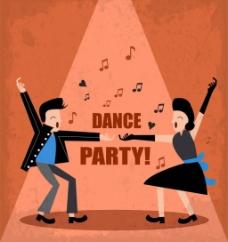 舞蹈派对横幅舞者矢量图