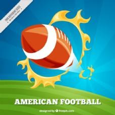 美式足球背景:球和火焰环