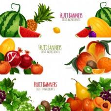 夏天健康蔬菜水果海报卡片背景矢量