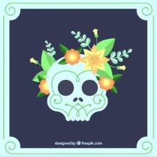 头骨与美丽的花朵在平面设计