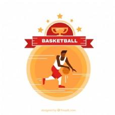 平面设计中的篮球运动员背景