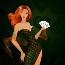时尚美女玩纸牌背景图