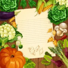 信纸健康蔬菜水果海报卡片背景矢量