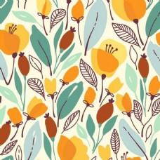 彩色植物花纹背景