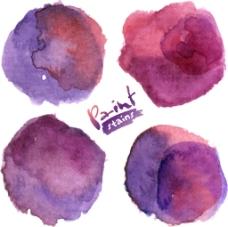 紫色晕染水墨图片