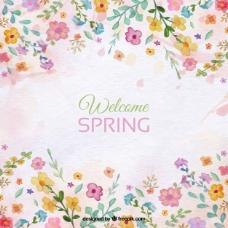 春季背景与花卉水彩细节