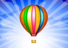 彩色热气球矢量背景