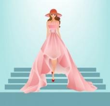 漂亮粉色礼服背景图