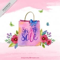 销售背景袋和水彩花
