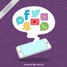 紫色背景与手机和社交网络图标