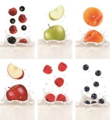 牛奶水果矢量图
