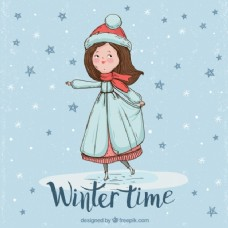 漂亮女人穿冬装的背景