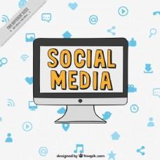 电脑背景与社会媒体图标